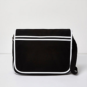 Black white bound flapover shoulder bag
