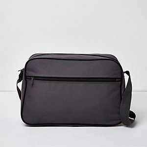 Grey flapover shoulder bag