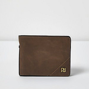 Brown leather foldout wallet