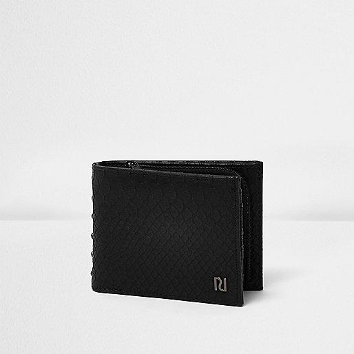 Black croc effect studded wallet