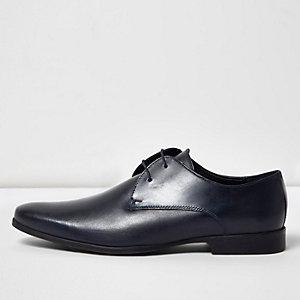 Marineblaue Derby-Schuhe aus Leder
