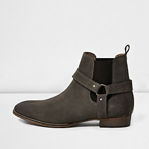 Stone suede buckle Western boots