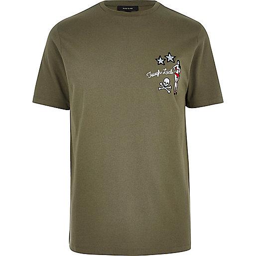 Khaki 'Tough Luck' badge T-shirt