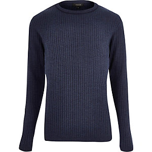 Blau gerippter Pullover