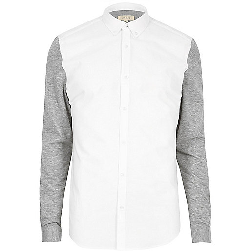 White jersey sleeve muscle fit Oxford shirt