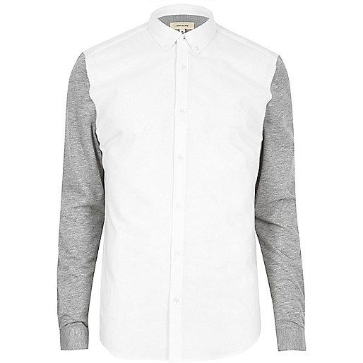 Chemise Oxford en jersey blanc