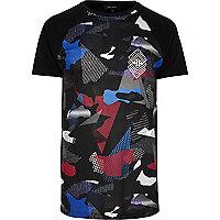 Black mesh camo raglan sleeve T-shirt