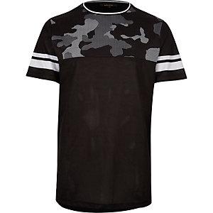 Black mesh camo panel T-shirt