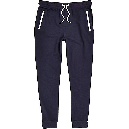 Navy side stripe joggers