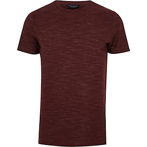 Burgundy Jack & Jones marl T-shirt