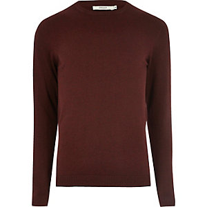 Burgundy knit Jack & Jones crew neck jumper