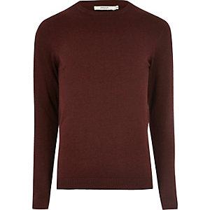 Burgundy knit Jack & Jones crew neck jumper