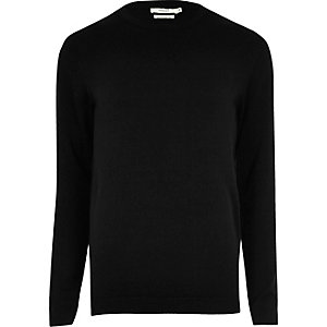 Black knit Jack & Jones crew neck sweater