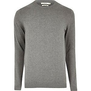 Grey marl knit Jack & Jones crew neck jumper