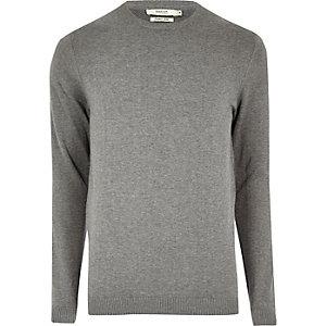 Grey marl knit Jack & Jones crew neck sweater