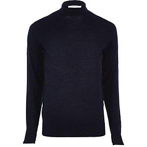 Navy Jack & Jones roll neck sweater