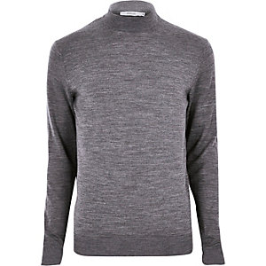 Grey marl Jack & Jones roll neck jumper