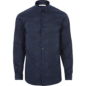Navy Jack & Jones paisley print shirt