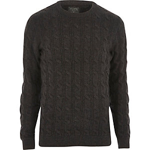 Dark grey chunky knit Jack & Jones sweater