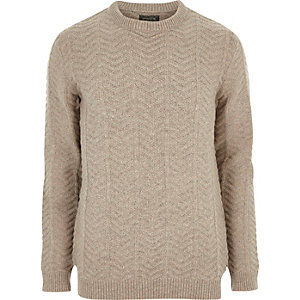 Stone chunky knit Jack & Jones sweater