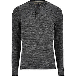 Grey Jack & Jones grandad long sleeve T-shirt