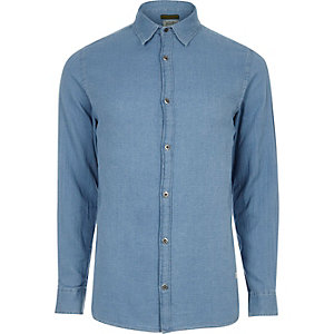 Blue textured Jack & Jones Vintage shirt