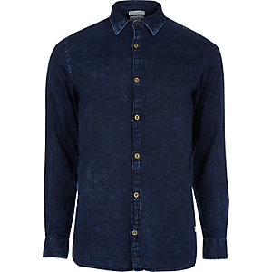 Navy textured Jack & Jones Vintage shirt