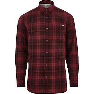Red Jack & Jones Vintage casual check shirt