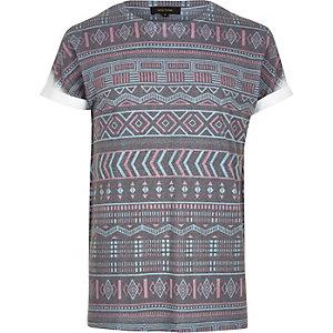 Navy Aztec print T-shirt