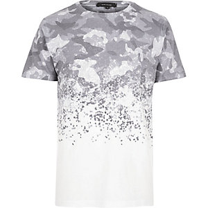 White faded camouflage print T-shirt