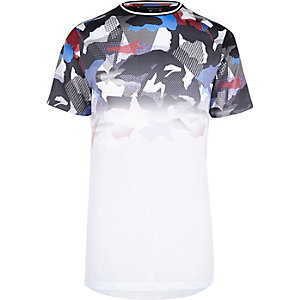 White faded camo mesh T-shirt