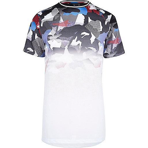 T-shirt en maille ajourée camouflage kaki délavé