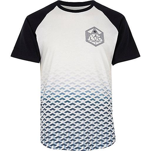 White faded print raglan T-shirt