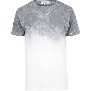 White faded bandana print T-shirt