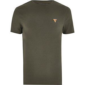 T-shirt avec logo vert kaki à coupe ajustée