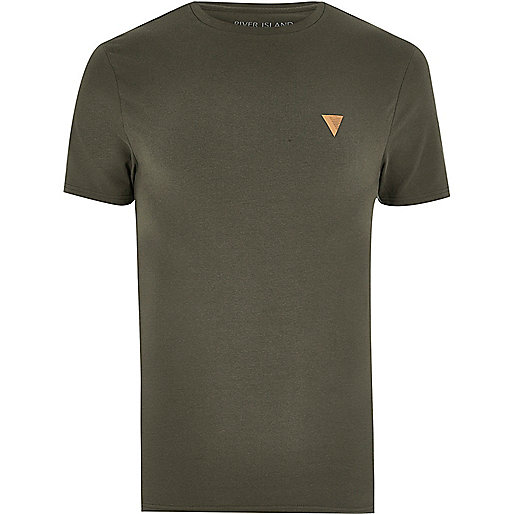 Khaki green muscle fit logo T-shirt
