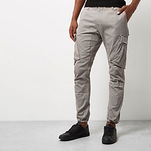 Grey cargo tapered joggers