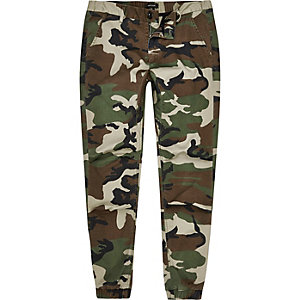 Green camo print tapered joggers