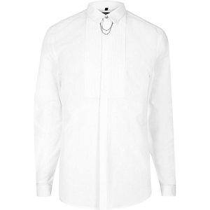 White pleat chain collar slim fit shirt