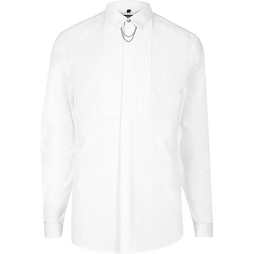 White pleat chain collar slim fit shirt