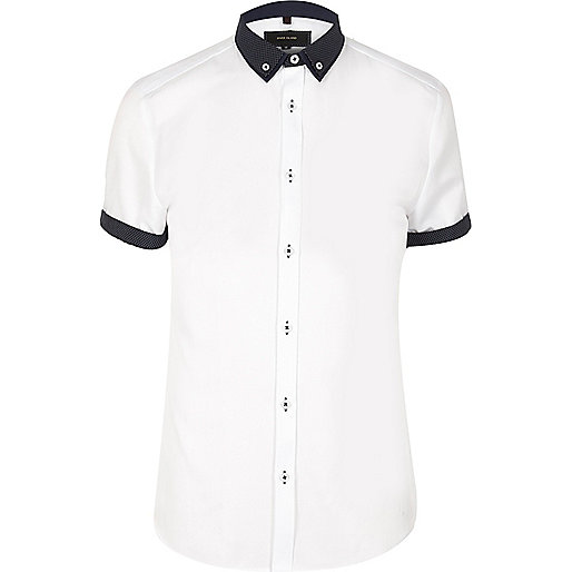 White contrast collar slim fit shirt