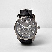 Black textile three dial watch