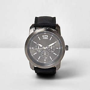Black textile three dial watch