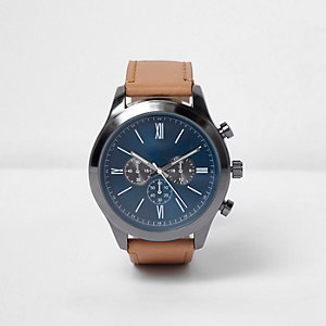Light brown textile three dial watch