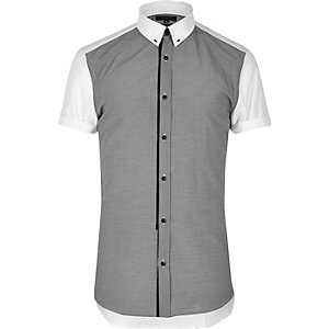 Grey contrast collar smart slim fit shirt
