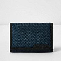Portefeuille à rabat noir en nylon et maille