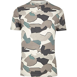 Grey jigsaw camo muscle fit T-shirt