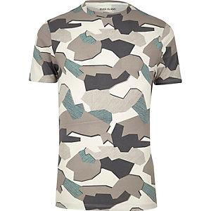 Grey jigsaw camo muscle fit T-shirt