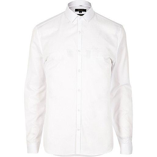 White smart textured slim fit shirt
