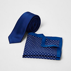 Blue spot print tie and pocket square